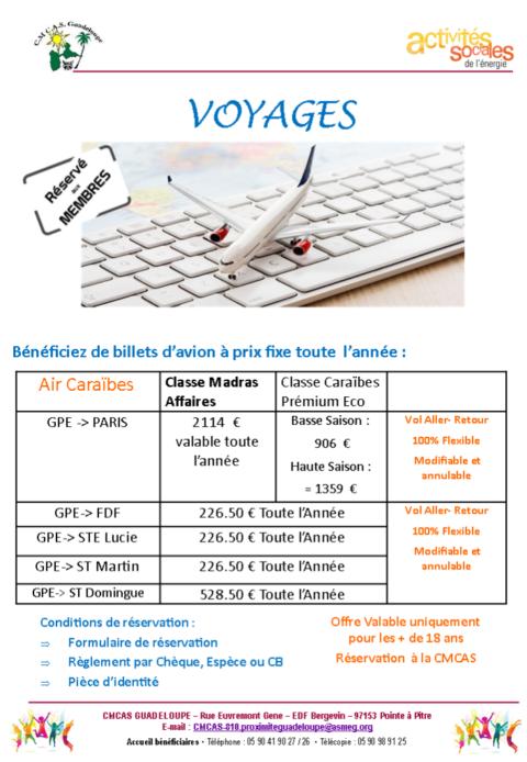 billets d'avion à prix fixe toute l'année